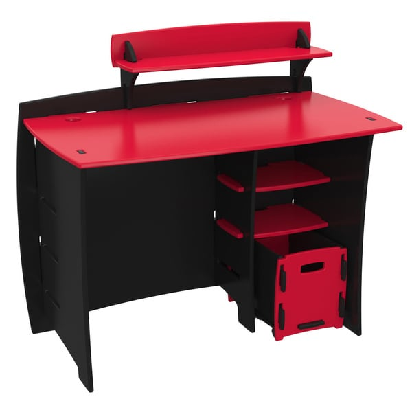 Legare Kids Furniture Red Race Car Series Collection 43-Inch Complete Desk System Set