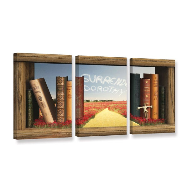 ArtWall Cynthia Decker's The Yellow Brick Road, 3 Piece Gallery Wrapped Canvas Set