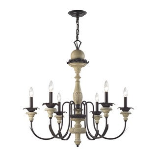 Elk Channery Point 6-light LED Chandelier in Aged Cream and Oil Rubbed Bronze