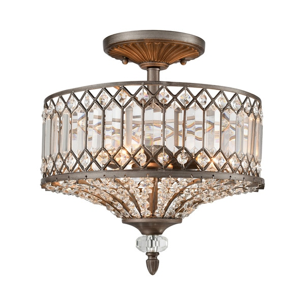 Elk Paola 3-light LED Semi Flush in Weathered Zinc