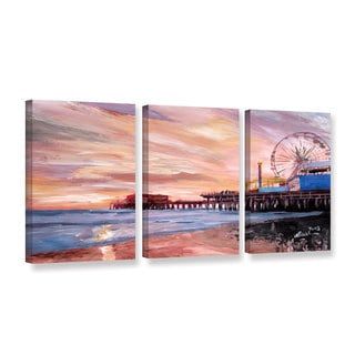 ArtWall Marcus/Martina Bleichner's Santa Monica Pier at Dusk, 3 Piece Gallery Wrapped Canvas Set