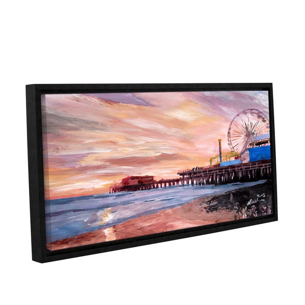 ArtWall Marcus/Martina Bleichner's Santa Monica Pier at Dusk, Gallery Wrapped Floater-framed Canvas
