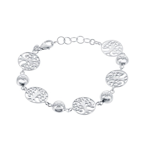 La Preicosa Sterling Silver Tree of Life Circle Link Bracelet