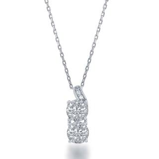 La Preciosa Sterling Silver 'Forever' 2-stone Cubic Zirconia Pendant