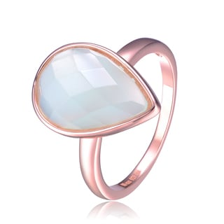 Collette Z Rose Gold Overlay Opaque Cubic Zirconia Pear Drop Ring
