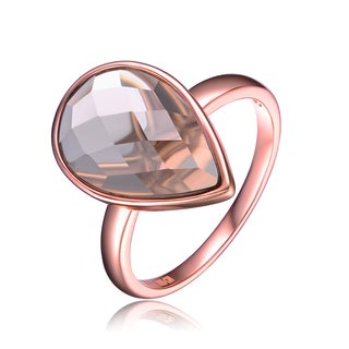 Collette Z Rose Gold Overlay Smokey Cubic Zirconia Pear Drop Ring