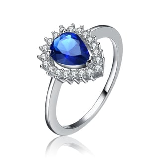 Collette Z Sterling Silver Blue Cubic Zirconia Pear Drop Ring with Halo