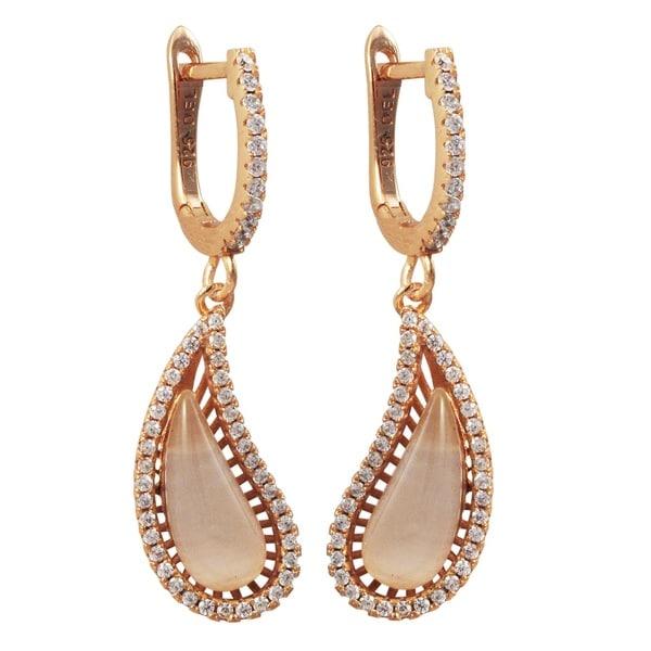 Luxiro Rose Gold Finish Sterling Silver Cat Eye Gemstone Earrings