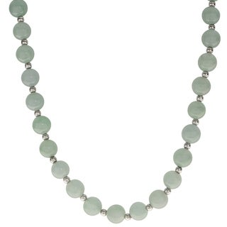 Gems For You Sterling Silver Jade Bead Necklace Extender (8mm)