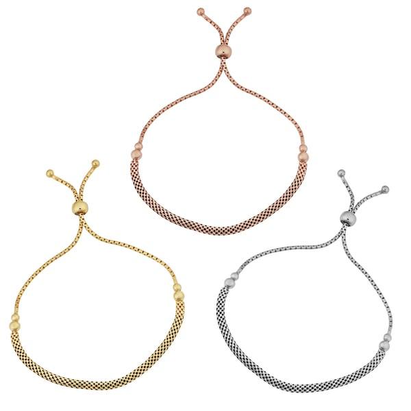 Argento Italia Sterling Silver 3.2-mm Mesh Adjustable Length Slide Bracelet (white, yellow or rose)