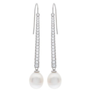 Pearls For You Sterling Silver White Freshwater Pearl and White Topaz Dangle Earrings (9-10mm)