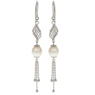 Pearls For You Sterling Silver Freshwater Pearl 'Lace' Dangle Earrings (8-8.5mm)