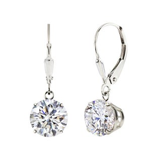 Sterling Silver 6mm Round Genuine White Topaz Leverback Dangle Earrings
