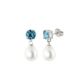 Sterling Silver Round Swiss Blue Topaz and White Freshwater Cultured Tear Drop Dangle Pearl Earrings