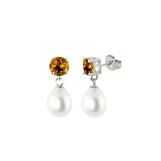 Sterling Silver Round Citrine and White Freshwater Cultured Tear Drop Dangle Pearl Earrings