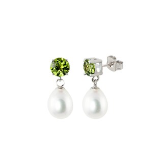 Sterling Silver Round Peridot and White Freshwater Cultured Tear Drop Dangle Pearl Earrings