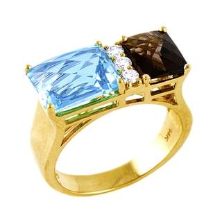 Beverly Hills Charm 14K Yellow Gold 1/6ct TDW Diamond Smokey Quartz and Blue Topaz Ring (H-I, SI2-I1)