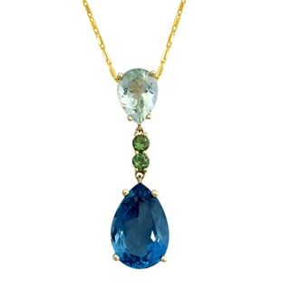 Beverly Hills Charm 14k Yellow Gold London Blue Topaz Green Tourmaline and Green Amethyst Necklace