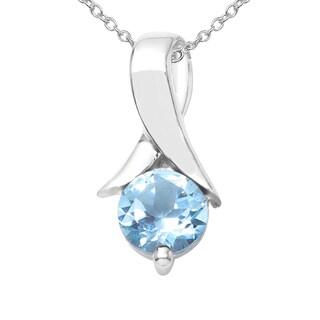 Sterling Silver 5/8ct TGW Blue Topaz Pendant