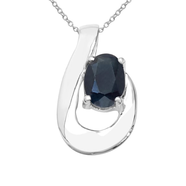 Sterling Silver 1 1/6ct TGW Blue Sapphire Pendant