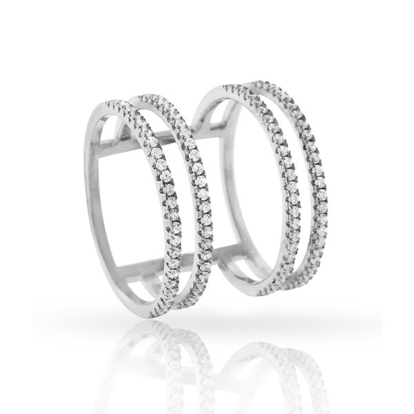 Sterling Silver Cubic Zirconia Micro Pave Multi Row Iced Ring