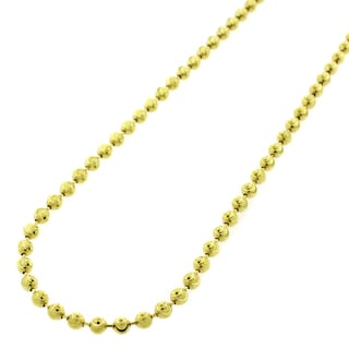 14k Yellow Gold 3mm Moon Cut Bead Pendant Chain Necklace