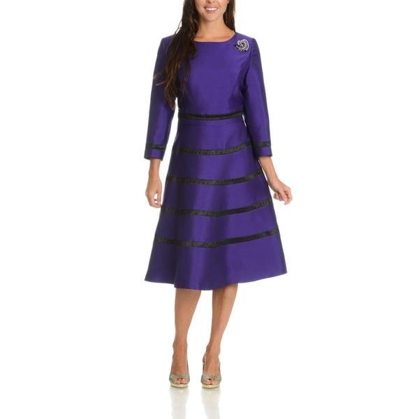 Giovanna Signature Women's Classic Embellished Brooch Stripe Dress