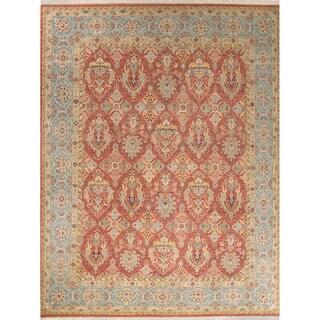 Classic Oriental Pattern Orange/Blue Wool Area Rug (6x9)