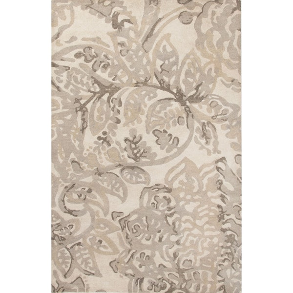 Contemporary Floral & Leaves Pattern Ivory/Neutral Wool Area Rug (5x8)
