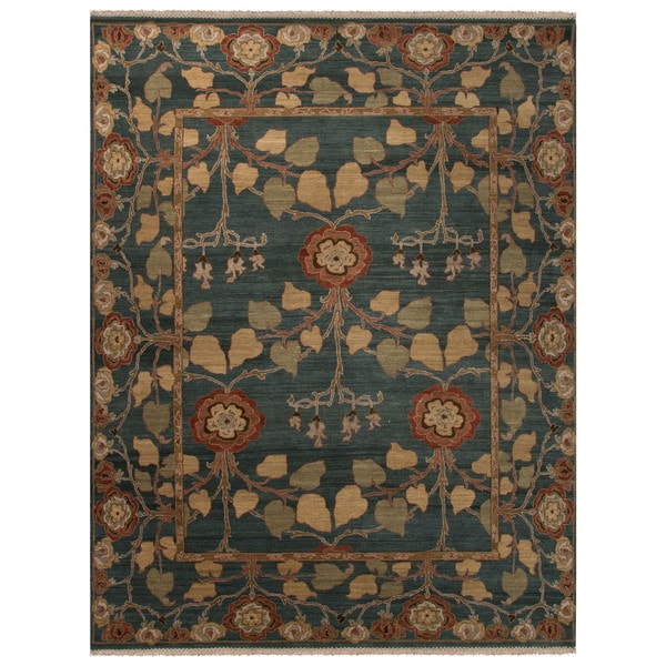 Classic Floral & Leaves Pattern Blue/Green Wool Area Rug (6x9)