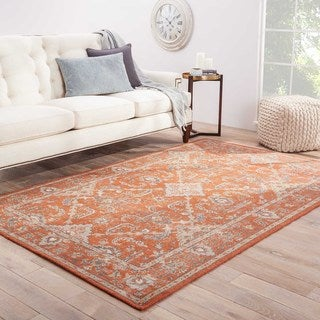 Classic Oriental Pattern Red/Ivory Wool Area Rug (5x8)