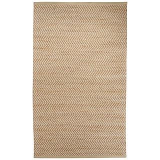 Naturals Chevrons Pattern Natural/Ivory Jute, Wool & Pu Leather Area Rug (5x8)