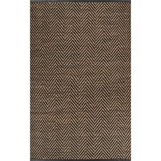 Naturals Chevrons Pattern Black/Natural Jute, Wool & Pu Leather Area Rug (5x8)