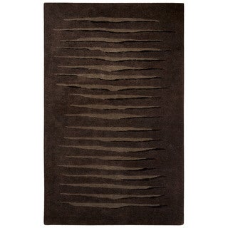 Contemporary Tribal Pattern Brown/Black Wool and Viscose Area Rug (9x12)