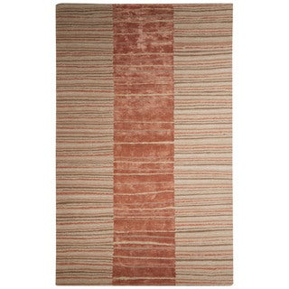 Contemporary Tribal Pattern Taupe/Brown Wool and Viscose Area Rug (9x12)
