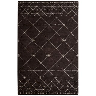 Contemporary Tribal Pattern Brown/Ivory Wool and Viscose Area Rug (9x12)