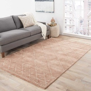 Contemporary Tribal Pattern Pink/Ivory Wool and Viscose Area Rug (9x12)