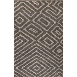 Naturals Tribal Pattern Gray/Taupe Jute Area Rug (8x10)