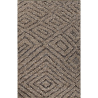 Naturals Tribal Pattern Gray/Black Jute Area Rug (8x10)