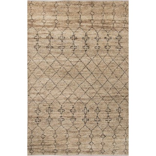 Naturals Tribal Pattern Natural/Black Jute and Wool Area Rug (8x10)