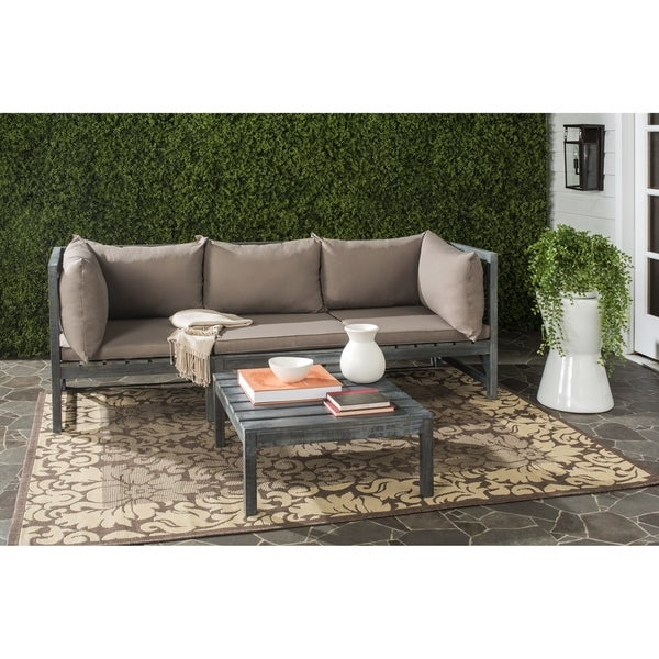 Safavieh Lynwood Outdoor Ash Grey/ Taupe Sectional