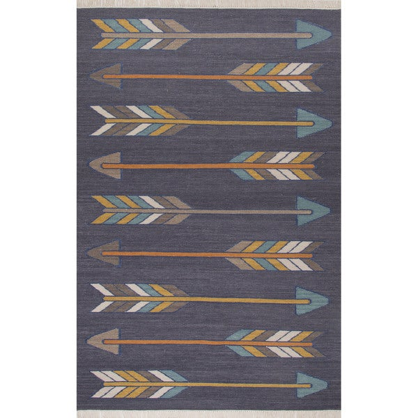 Gray 8x11 Area Rugs: Flatweave Tribal Pattern Dark Gray/Yellow Wool And Cotton