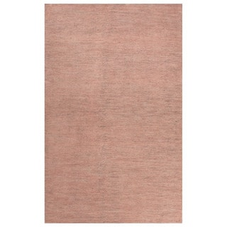Solids Solids & Heather Pattern Pink Wool and Cotton Area Rug (9x12)