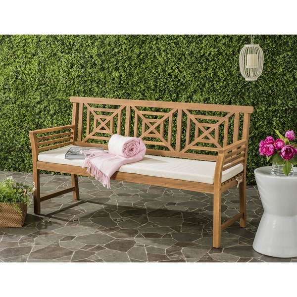 Safavieh Del Outdoor Teak Brown/ Beige Mar 3 Seat Bench