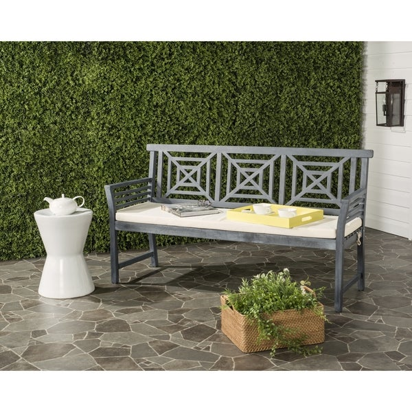 Safavieh Del Outdoor Ash Grey/ Beige Mar 3 Seat Bench