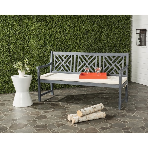 Safavieh Bradbury Outdoor Ash Grey/ Beige 3 Seat Bench
