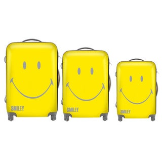 Smiley Classic Yellow 3-piece Hardside Spinner Luggage Set