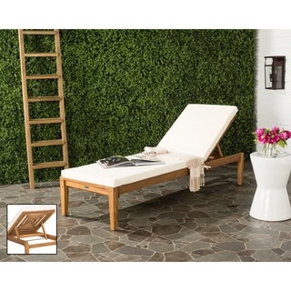 Safavieh outdoor living manteca brown acacia wood lounge for Acacia wood chaise lounge