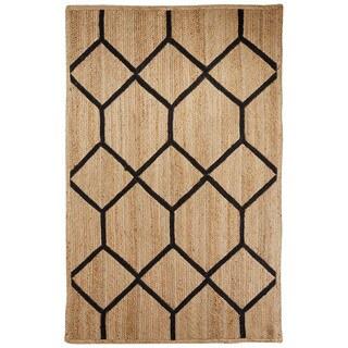 Naturals Tribal Pattern Natural/Black Jute Area Rug (9x12)