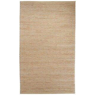 Naturals Chevrons Pattern Natural/Ivory Jute, Wool & Pu Leather Area Rug (9x12)